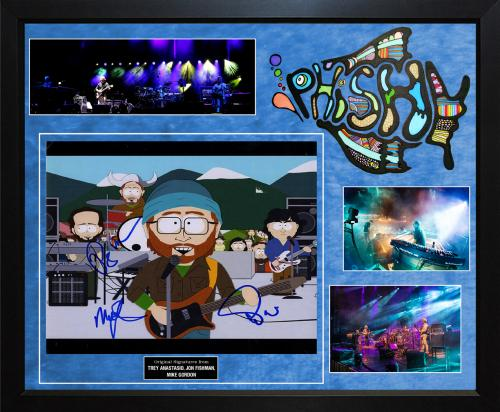 Phish Autographed South Park 11x14 Photo in Custom Framed Display AFTAL UACC RD