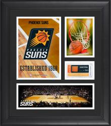 """Phoenix Suns Team Logo Framed 15"""" x 17"""" Collage with Team-Used Baseketball"""