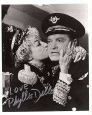 PHYLLIS DILLER HAND SIGNED 8x10 PHOTO+COA       GREAT POSE      KISSING BOB HOPE