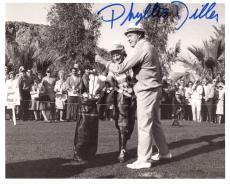 PHYLLIS DILLER HAND SIGNED 8x10 PHOTO+COA        RARE POSE GOLFING WITH BOB HOPE