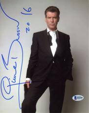 """Pierce Brosnan Autographed 8"""" x 10"""" Posing in Suit & Tie Photograph with 2016 Inscription - Beckett COA"""