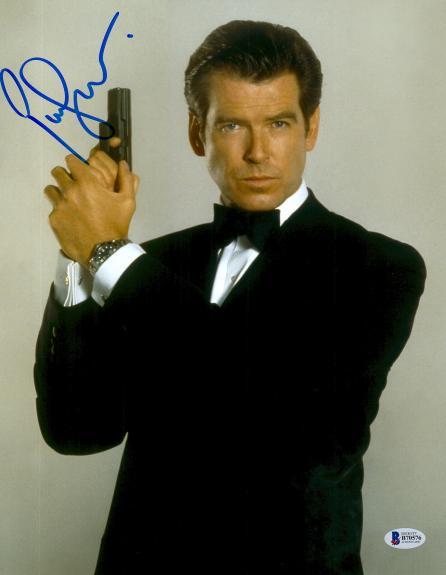 Pierce Brosnan Signed 11x14 James Bond Pose Photo Beckett BAS COA