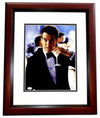 Pierce Brosnan Signed - Autographed 007 James Bond 11x14 Photo MAHOGANY CUSTOM FRAME - JSA Certificate of Authenticity