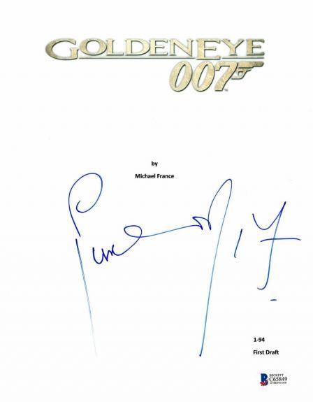 Pierce Brosnan Signed Autographed Goldeneye 'james Bond' Script Beckett Bas Coa