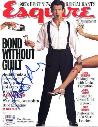 Pierce Brosnan Signed Esquire Magazine Cover PSA/DNA #J00299