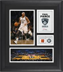 Paul Pierce Brooklyn Nets Framed 15'' x 17'' Collage with Team-Used Ball - Mounted Memories