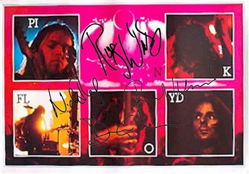 Pink Floyd Facsimile Signature   Live Pictures Poster