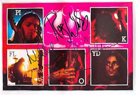Pink Floyd Autographed Facsimile Signed Live Pictures Poster
