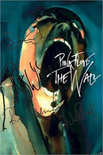 Pink Floyd Autographed Facsimile Signed Screaming The Wall Poster