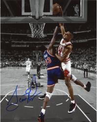 Scottie Pippen Chicago Bulls Autographed 8'' x 10'' Dunk On Patrick Ewing Spotlight Photograph