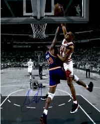 Scottie Pippen Chicago Bulls Autographed 16'' x 20'' Spotlight Dunk On Patrick Ewing Photograph