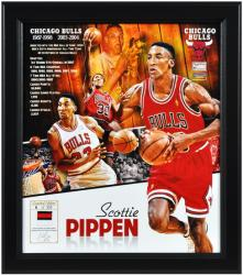 "Scottie Pippen Chicago Bulls Framed 15"" x 17"" Collage with Game-Used Jersey-Limited Edition of 533"