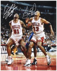 NBA Chicago Bullls Scottie Pippen & Dennis Rodman Autographed 16'' x 20'' Photo vs. Orlando Magic - Mounted Memories