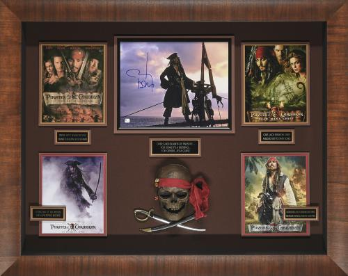 Pirates of the Caribbean collage with movie still signed by Johnny Depp Framed 44x35x5