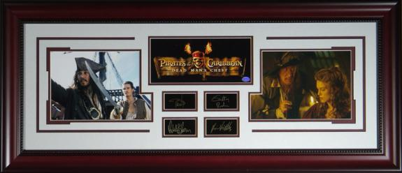 """Autographed Johhny Depp and Orlando Bloom Photo - Of The Caribbean"""" - Engraved Display"""