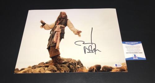 Pirates Of The Caribbean Jack Sparrow Johnny Depp Signed Auto 11x14 Photo Bas