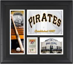 Pittsburgh Pirates Team Logo Framed 15'' x 17'' Collage with Piece of Game-Used Ball - Mounted Memories