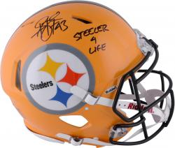 Troy Polamalu Pittsburgh Steelers Autographed Riddell Pro-Line Revolution Speed Throwback Helmet with Steeler Nation Inscription - Mounted Memories