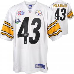 Troy Polamalu Pittsburgh Steelers Autographed Reebok White Jersey with SB Patches - Mounted Memories