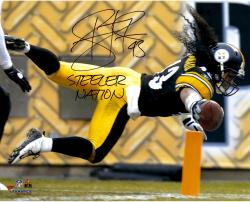 Troy Polamalu Pittsburgh Steelers Autographed 16'' x 20'' TD Dive Photograph with Steeler Nation Inscription
