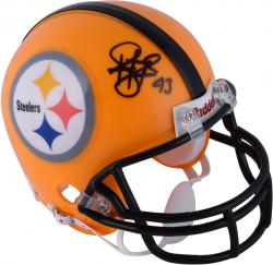 Troy Polamalu Pittsburgh Steelers Autographed Riddell Throwback Mini Helmet