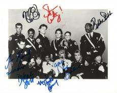 POLICE ACADEMY HAND SIGNED 8x10 CAST PHOTO+COA        8 SIGNED      AMAZING+RARE