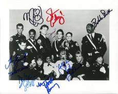 POLICE ACADEMY HAND SIGNED 8x10 CAST PHOTO+COA       SIGNED BY 8     BUBBA SMITH