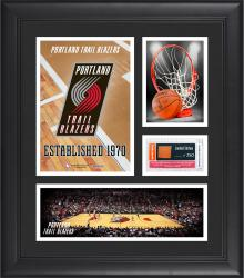 "Portland Trail Blazers Team Logo Framed 15"" x 17"" Collage with Team-Used Baseketball"