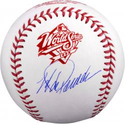 Jorge Posada New York Yankees Autographed 1998 World Series Logo Baseball -