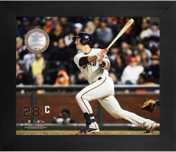 Buster Posey San Francisco Giants Framed 20'' x 24'' Gamebreaker Photograph with Game-Used Ball - Mounted Memories