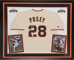Buster Posey Autographed Giants Replica Jersey - Deluxe Framed