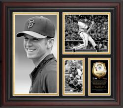 "Buster Posey San Francisco Giants Framed 15"" x 17"" B&W Composite with Piece of Game-Used Ball-Limited Edition of 500"