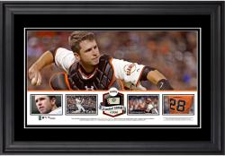 Buster Posey San Francisco Giants Framed Panoramic with Piece of Game-Used Ball - Limited Edition of 500