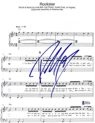 Post Malone Signed 8.5x11 Rockstar Music Sheet Photo BAS #F69140