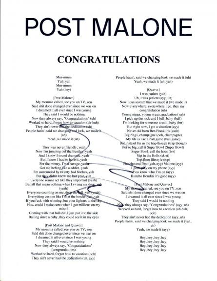 Post Malone Signed Autographed CONGRATULATIONS Song Lyric Sheet Proof + COA