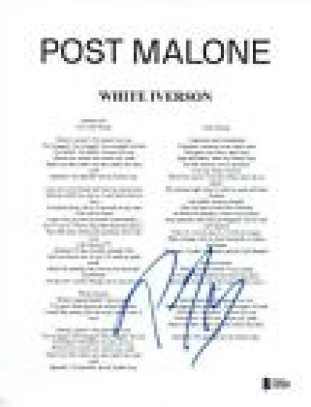 Post Malone Signed Autographed WHITE IVERSON Lyric Sheet Beckett BAS COA