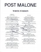 Post Malone Signed Autographed WHITE IVERSON Song Lyric Sheet Proof + COA