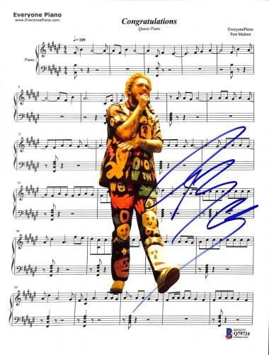 Post Malone Signed Congratulations Music Sheet Photo BAS #Q79724
