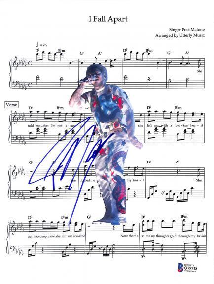 Post Malone Signed I fall Apart Music Sheet Photo BAS #Q79718