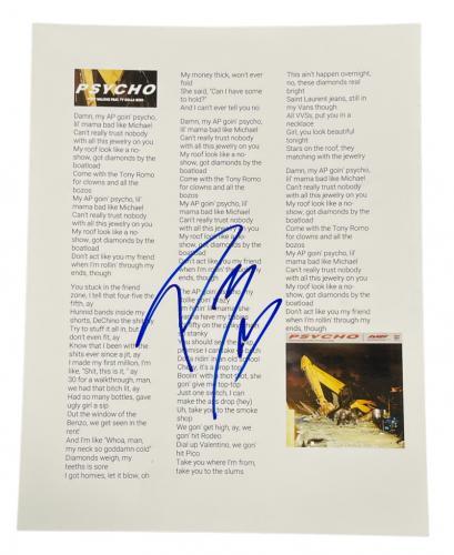 Post Malone Signed Psycho Lyric Sheet Authentic Autograph Posty Coa