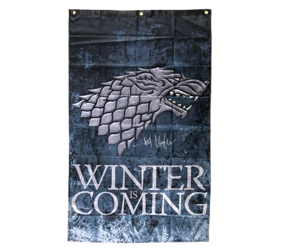 Pre-Order: Kit Harington Signed Game Of Thrones Winter is Coming Banner