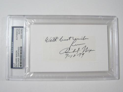 Pres Richard Nixon cut signature autograph president 9-10-79 PSA DNA