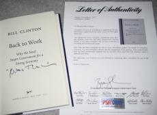 Pres. WILLIAM J. CLINTON Signed 1st Edition BACK TO WORK book with PSA LOA
