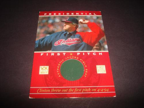 President Bill Clinton 2002 Topps First Pitch Jacobs Field Seat Relic A17