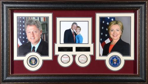 President Bill Clinton & Hillary Clinton Framed Autographed Baseball Collage - JSA