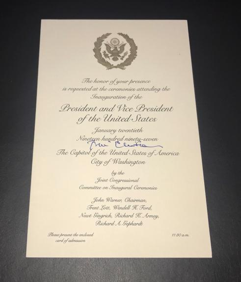 President Bill Clinton Signed Auto Inaguration Invitation Bas Beckett Coa 1