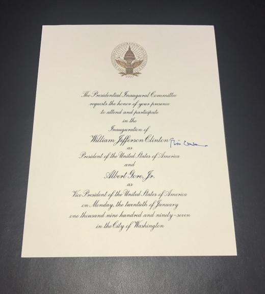 President Bill Clinton Signed Auto Inaguration Invitation Bas Beckett Coa 2