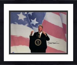 President Bill Clinton Signed Autograph 11x14 Photo - American Flag, Hillary Psa