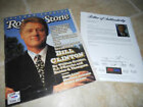 President Bill Clinton Signed Autographed Rolling Stone Magazine PSA Certified