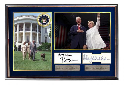 President Bill & Hillary Clinton Autographed Signed Custom Family Photo Display